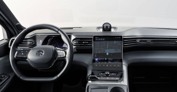 1st generation Nio ES8 electric SUV steering wheel and infotainment screen view