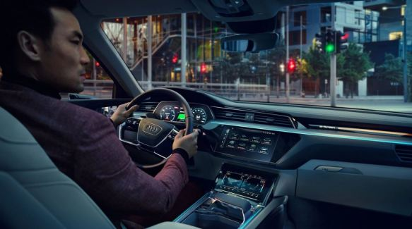 1st generation audi e tron sportback fully electric front cabin interior view
