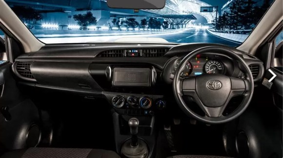 8th generation Toyota hilux E front cabin interior view