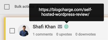 commenter's site
