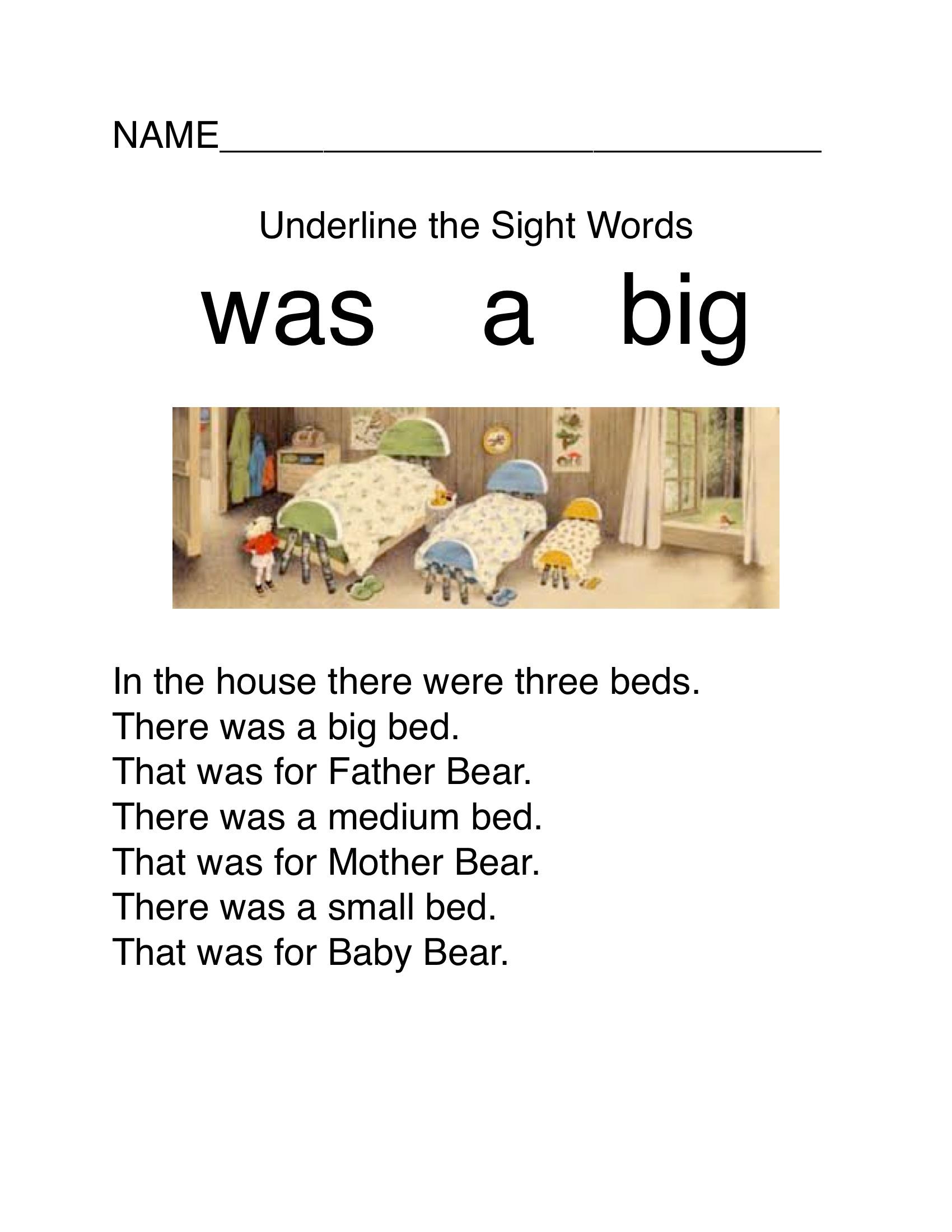 Free Three Bears Sight Word Download