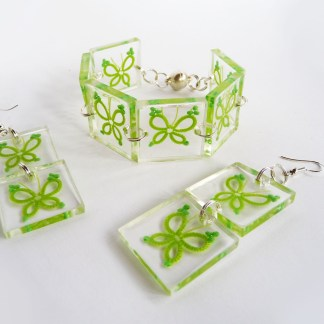Butterflies jewelry set, tatting in resin