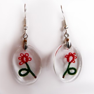 Scarlet flower earrings, tatting in resin