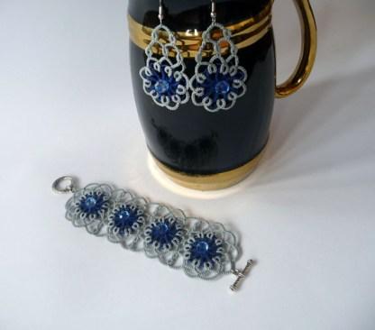 Ice blink jewelry set, tatting jewelry