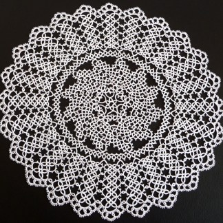 Large round white doily, tatting doily, 13 wedding anniversary