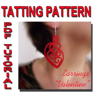 Earrings Valentine tatting pattern