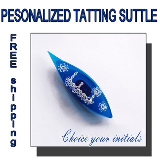 Personalized tatting shuttle blue