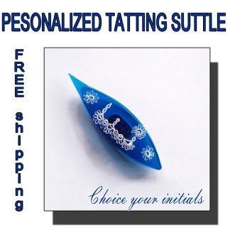 Personalized tatting shuttle blue