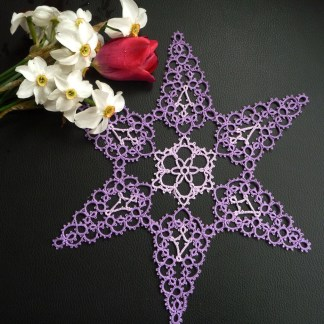 Big purple star, tatting doily