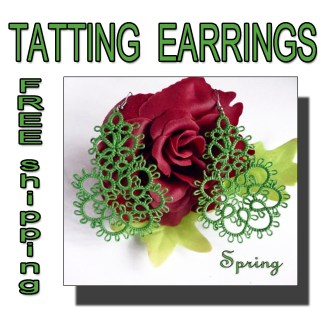 Green earrings Spring