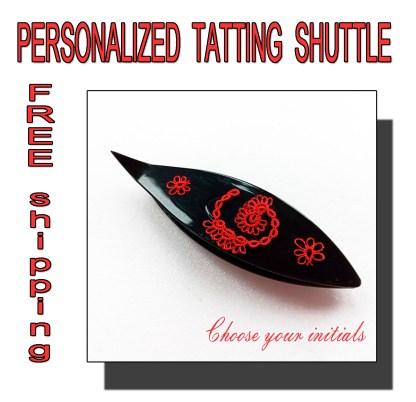 Personalized tatting shuttle black
