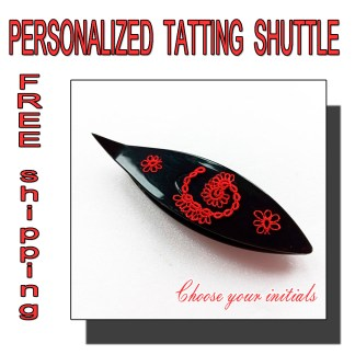 Personalized tatting shuttle black