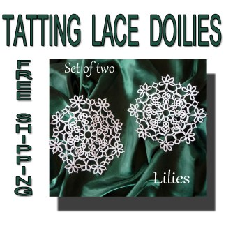 Two tatting doilies Lilies