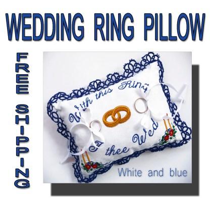 Wedding wing pillow blue