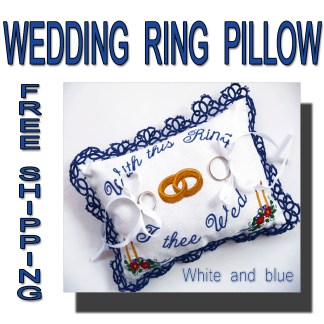 Wedding wing pillow blue