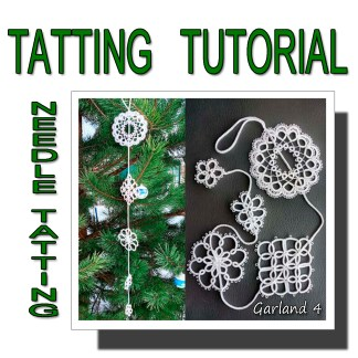 Needle tatting pattern garland fourth