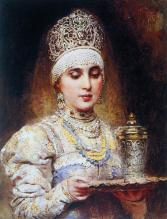 Young lady with a tray