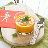 Soupe froide de carottes, lentilles corail et lait de coco {Vegan}