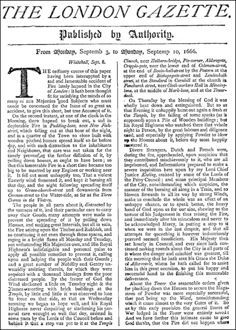 London Gazette September 3-10, 1666