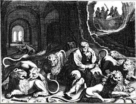 King Darius finds Daniel alive in the lions' den.
