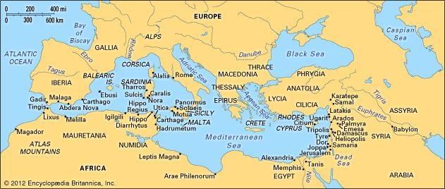 The Mediterranean Circa the time of Ezekiel and the Phoenician Empire