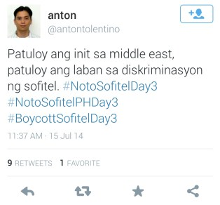 """The heat in the middle east continues, and so does the fight against the discrimination of Sofitel,"" tweets Anton Tolentino, a supporter of the cause from the Middle East."