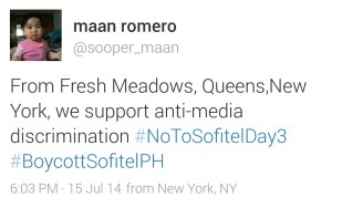 From Fresh Meadows, New York, Maan Romero shows her support.