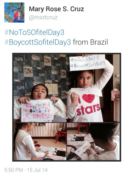 Even adorable kids from Brazil support the boycott towards Sofitel.