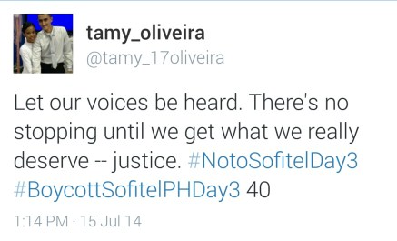 Tamy Oliveira, a boycotter from South America tweets her support.