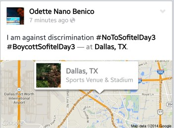 Odette Nano Benico of Dallas Texas is against discrimination and shows her support for UNTV.