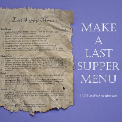 ACTIVITY: Create a Take-Home Last Supper Menu