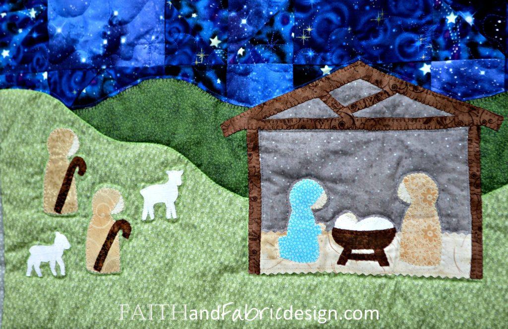 Silent Night Nativity Christmas Quilt Pattern Detail 6