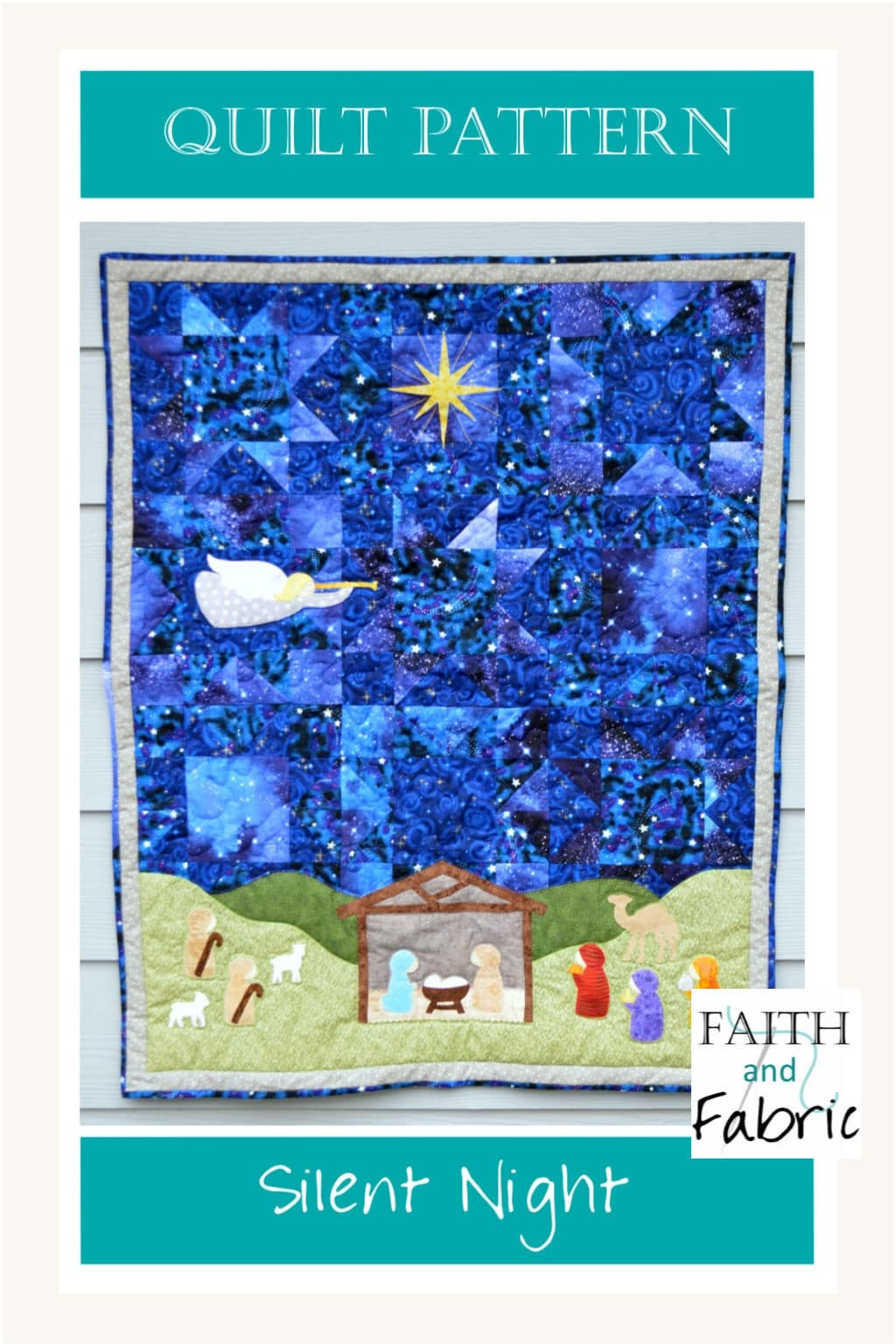 This beautiful silent night quilt pattern shares the glory of that first night; the dramatic stars in the sky create the backdrop for Mary, Joseph, and Jesus come Christmas morning. Created by Faith and Fabric.