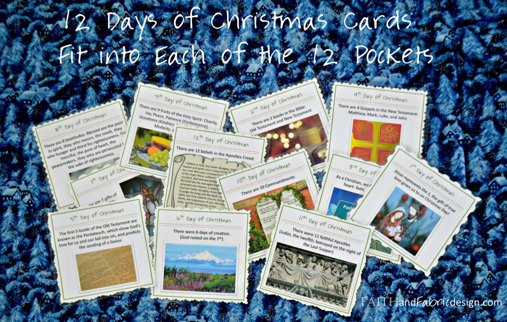 12 Days of Christmas Quilt - Detail of Cards for Each Day