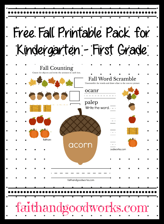 Free Fall Printable Pack for Kindergarten/First Grade