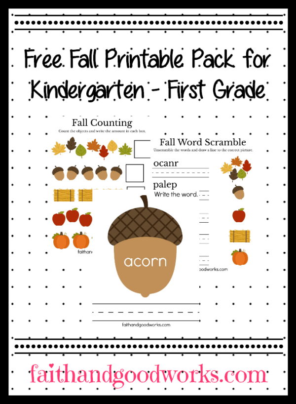 free fall printable pack for kindergarten