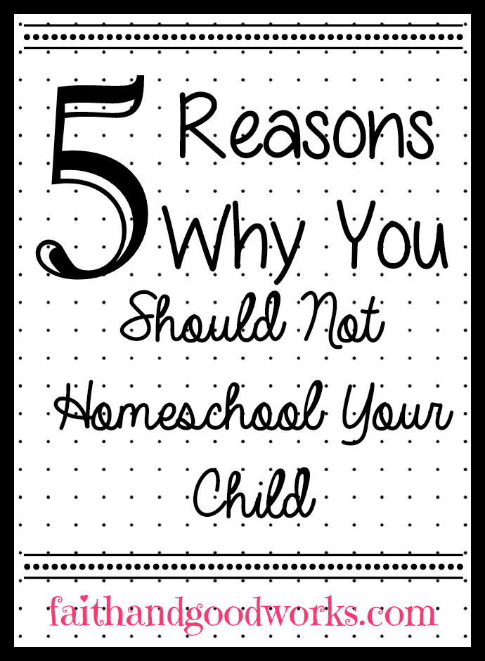 5 Reasons You Shouldn't Homeschool