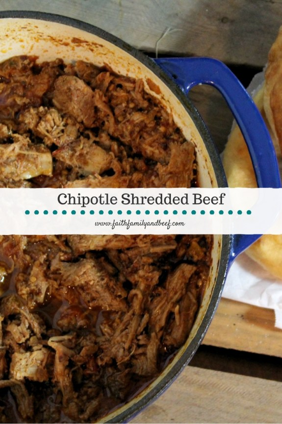 Chipotle Shredded Beef - Serve as Navajo tacos, nachos, as a sandwich, in a burrito or any other delicious way you can think of!