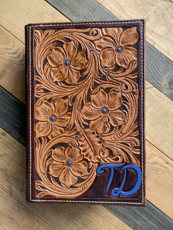 Hand Tooled Leather Bible Cover - Home Decor + Accessories