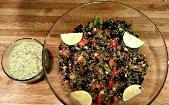 Southwest Quinoa with Avocado Cilantro Dressing