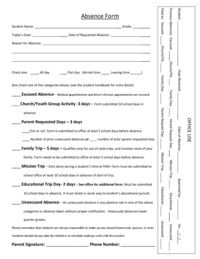 thumbnail of Absence Request form