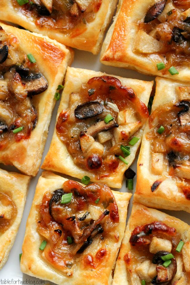 Caramelized Onion, Mushroom, Apple and Gruyere Bites | Faith, Hope, Love, and Luck Survive Despite a Whiskered Accomplice