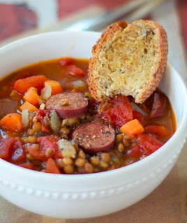 Lentil and Sausage Soup | Faith, Hope, Love, and Luck Survive Despite a Whiskered Accomplice