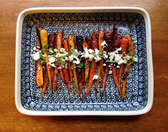 Moroccan Spiced Carrots with Feta and Mint | Faith, Hope, Love, and Luck Survive Despite a Whiskered Accomplice
