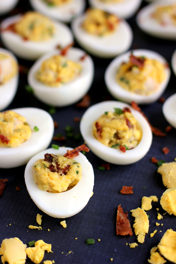 Shrimp and Bacon Stuffed Deviled Eggs | Faith, Hope, Love, and Luck Survive Despite a Whiskered Accomplice