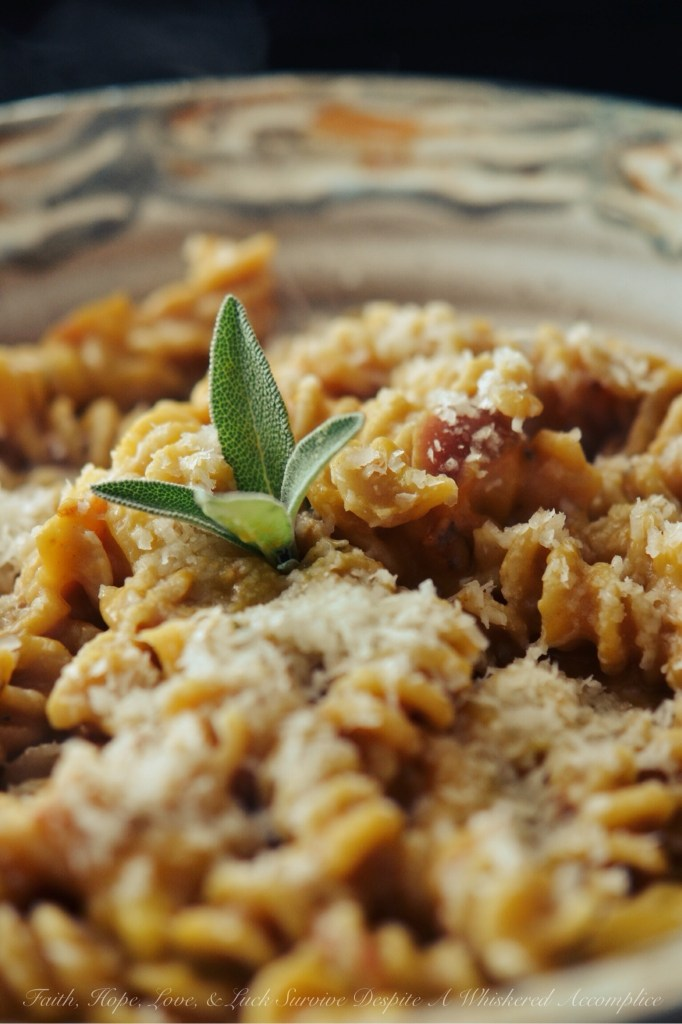 Fall Pumpkin Pasta | Faith, Hope, Love, & Luck Survive Despite A Whiskered Accomplice