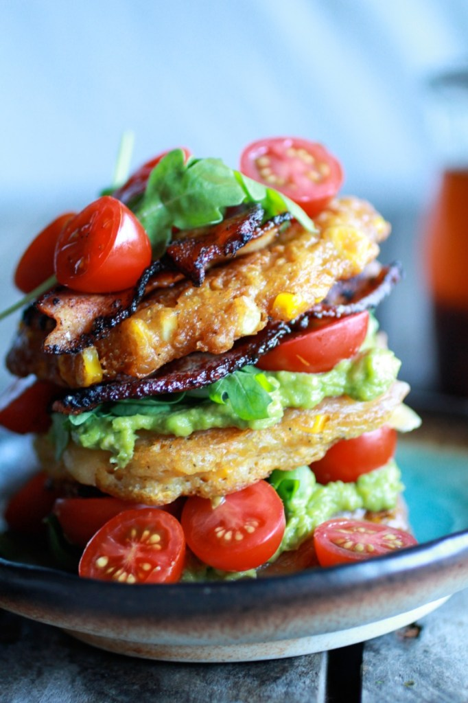 Avocado and Gouda BLT Corn Fritter Stacks with Chipotle Bourbon Dressing | Faith, Hope, Love, and Luck Survive Despite a Whiskered Accomplice