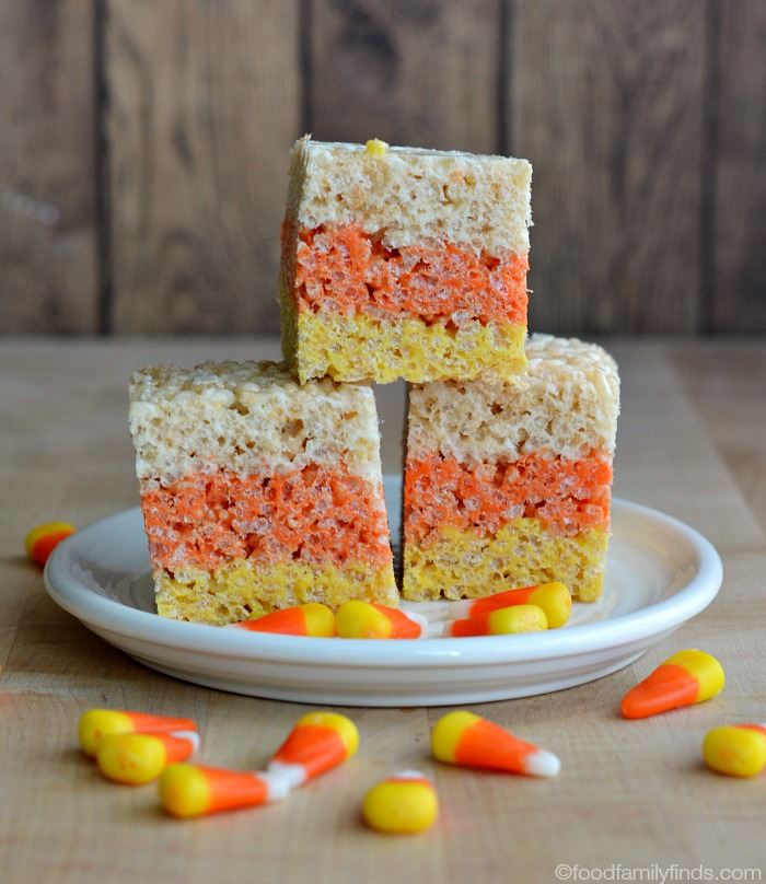 Layered Candy Corn Rice Krispies Treats | Faith, Hope, Love, and Luck Survive Despite a Whiskered Accomplice