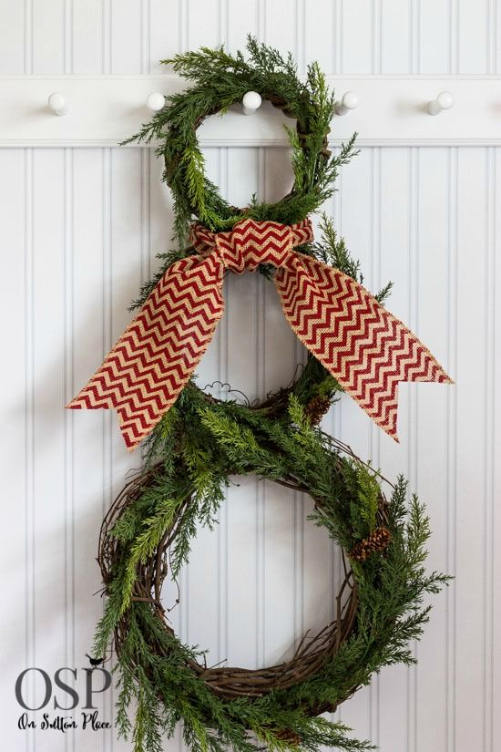 DIY Snowman Wreath | Faith, Hope, Love, and Luck Survive Despite a Whiskered Accomplice