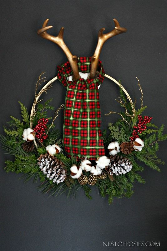 Lumber Jack Antler Wreath | Faith, Hope, Love, and Luck Survive Despite a Whiskered Accomplice